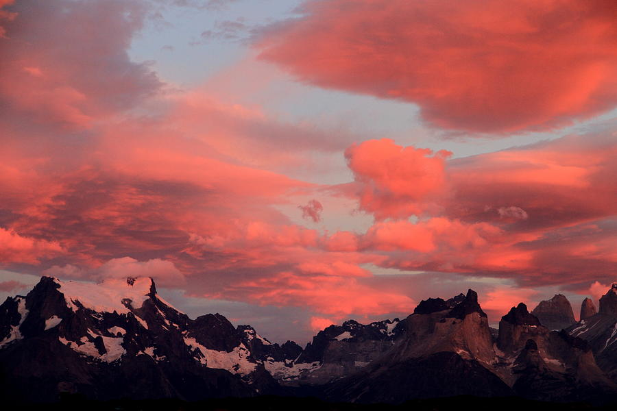 Red Photograph - Red Sunset At Torres Del Paine by Arie Arik Chen