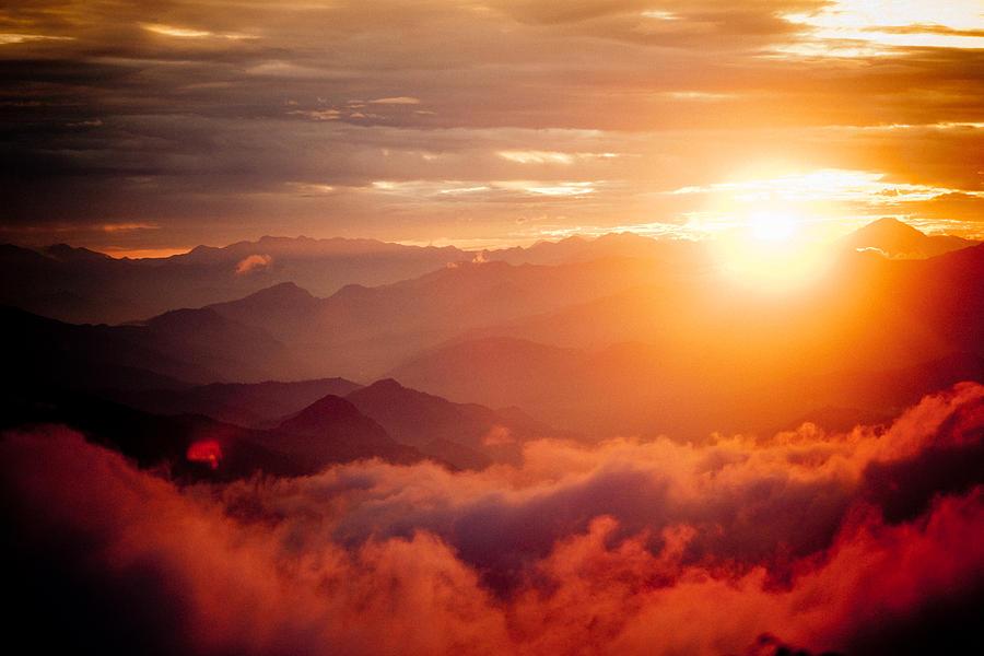 Mountains Photograph - Red Sunset Himalayas Mountain Nepal by Raimond Klavins