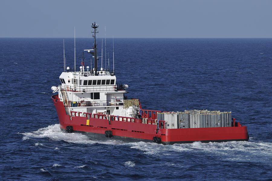 Ship Photograph - Red Supply Vessel by Bradford Martin