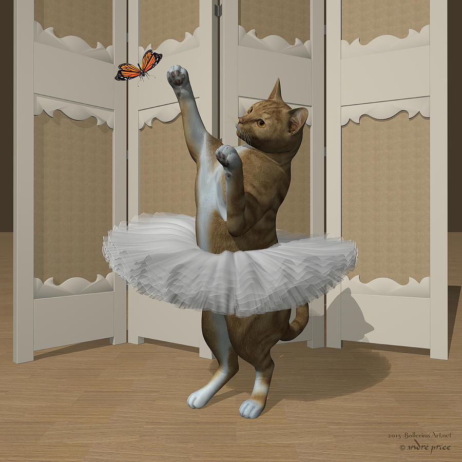 Red Tabby Digital Art - Red Tabby Ballet Cat On Paw-te by Andre Price