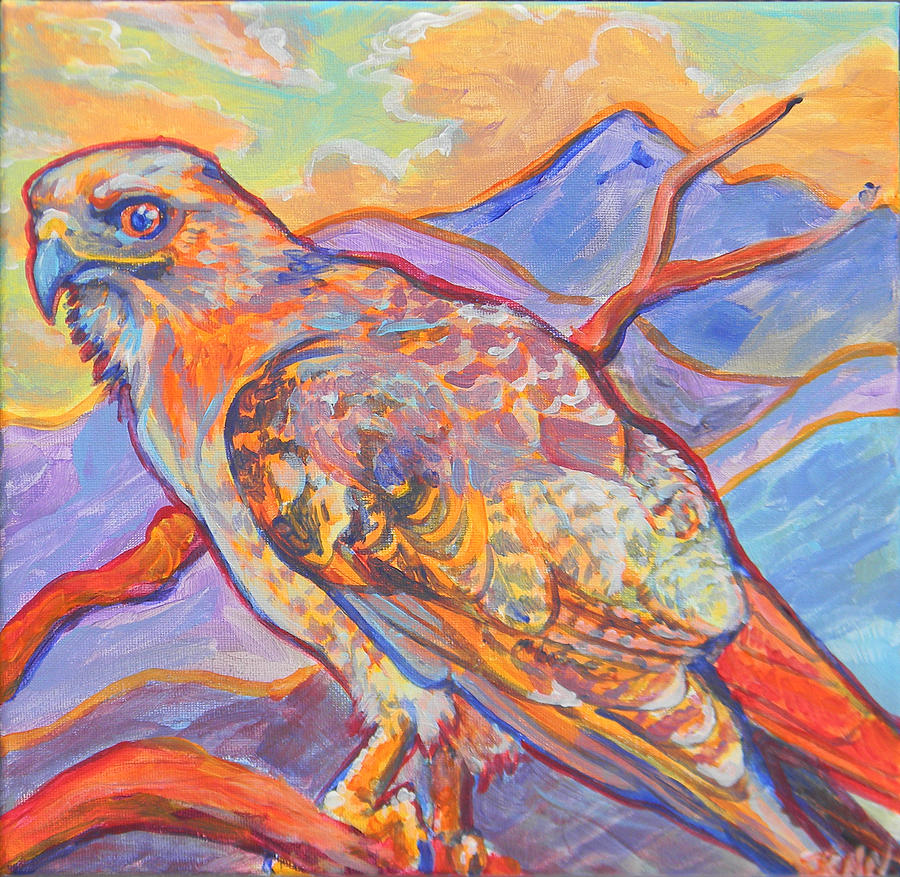 Hawk Painting - Red Tail Visit by Jenn Cunningham