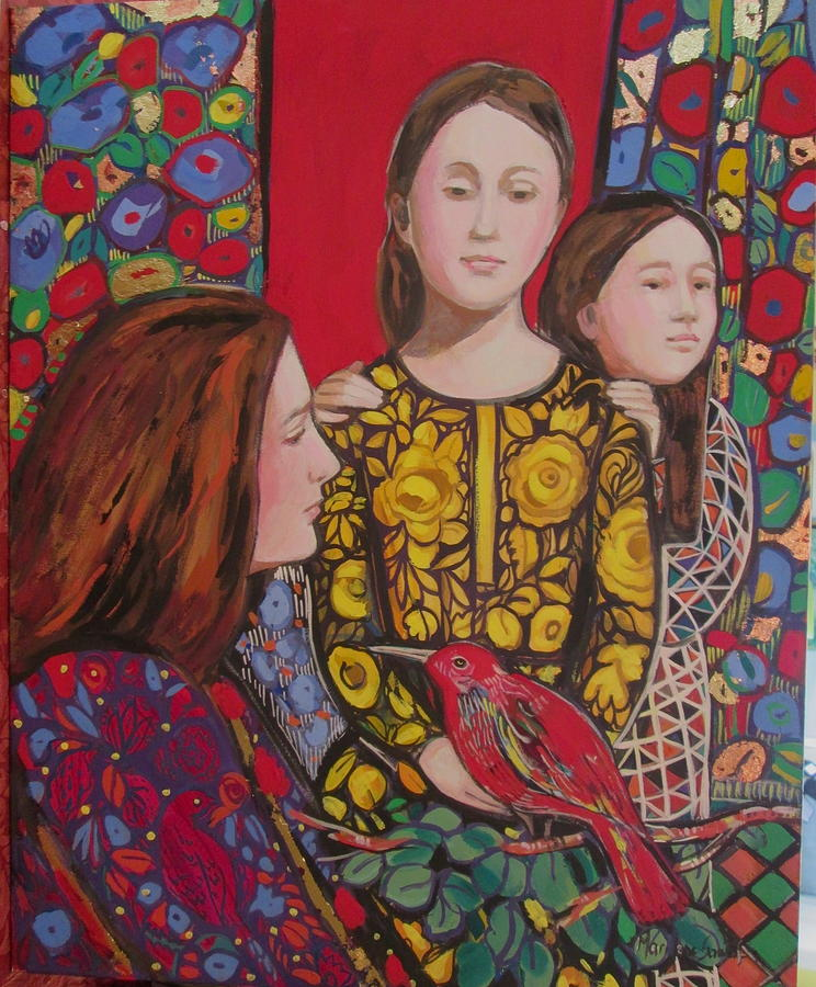 Thanksgiving Painting - Red Thanksgiving with family by Marilene Sawaf