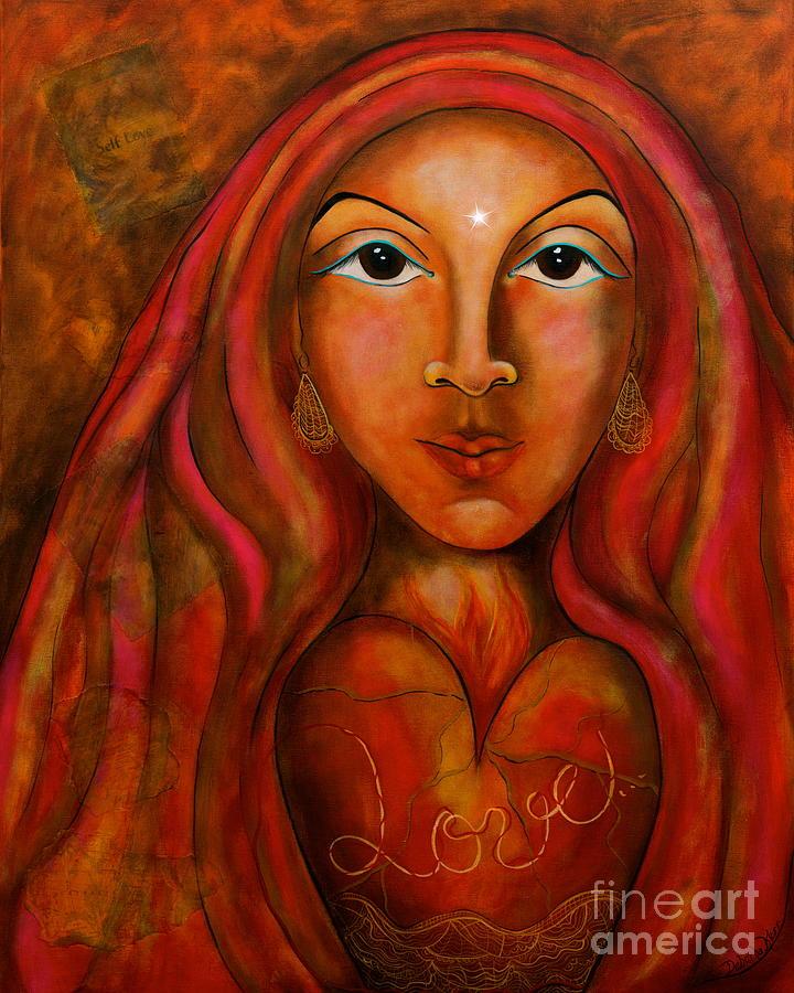 Contemporary Symbolism Painting - Red Thread Madonna by Deborha Kerr