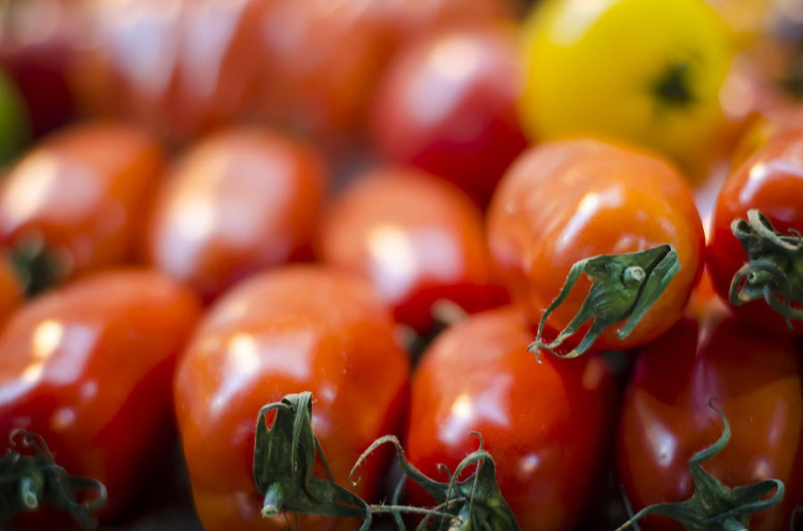 Tomato Photograph - Red Tomatoes At The Market by Heather Applegate