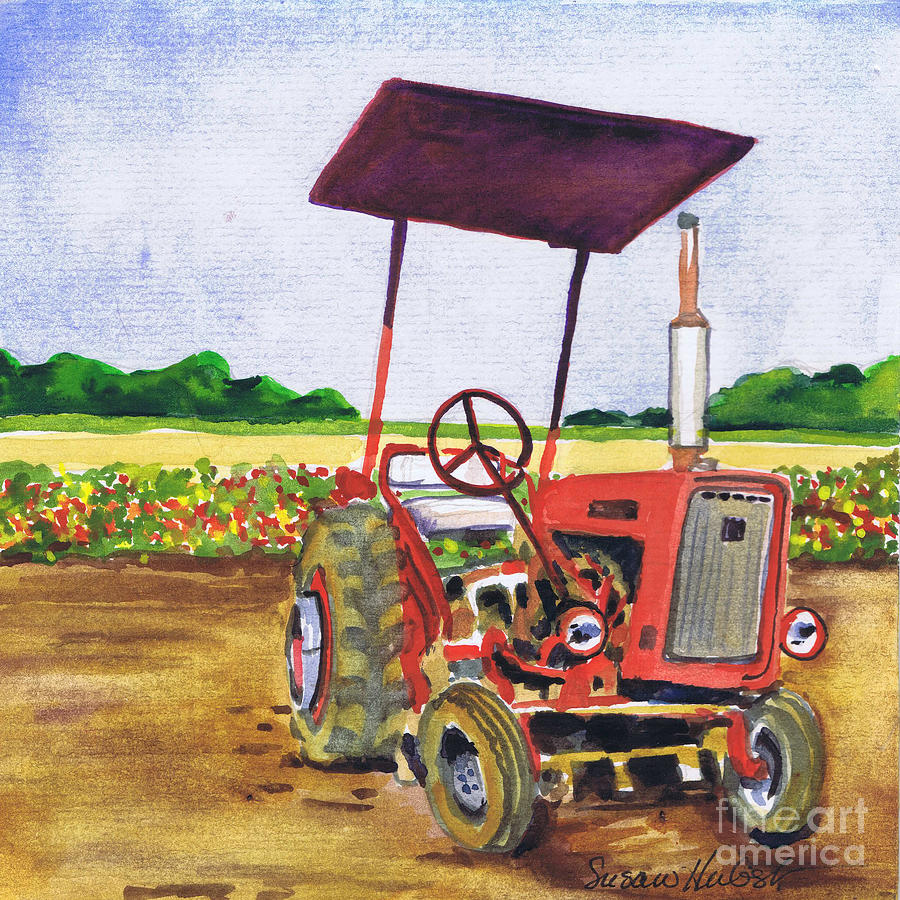 Tractor Painting - Red Tractor At Rottcamps Farm by Susan Herbst