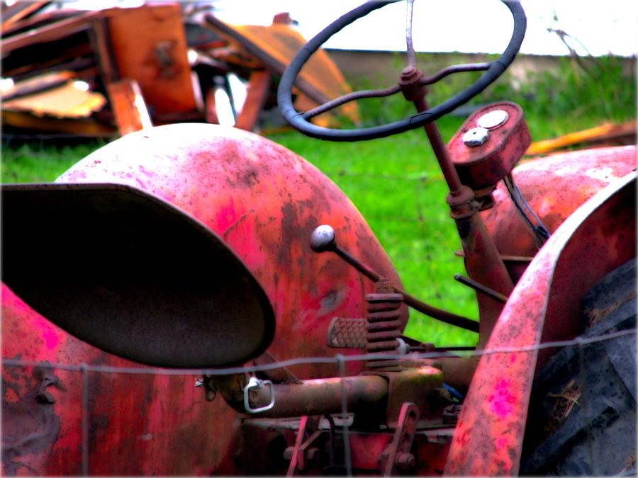 Red Tractor Photograph - Red Tractor Rural Photography by Laura Carter