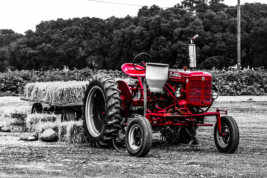 Red Photograph - Red Tractor by Steven  Taylor