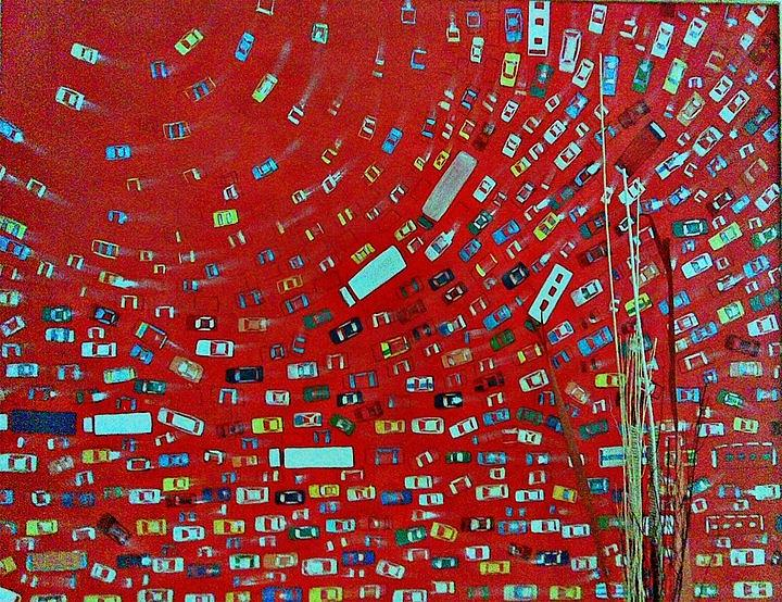 Cityscape Painting - Red Traffic by Auckel Vishal