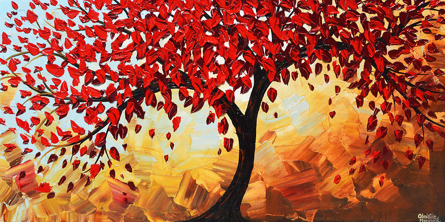 Red Painting - Red Tree of Life by Christine Bell