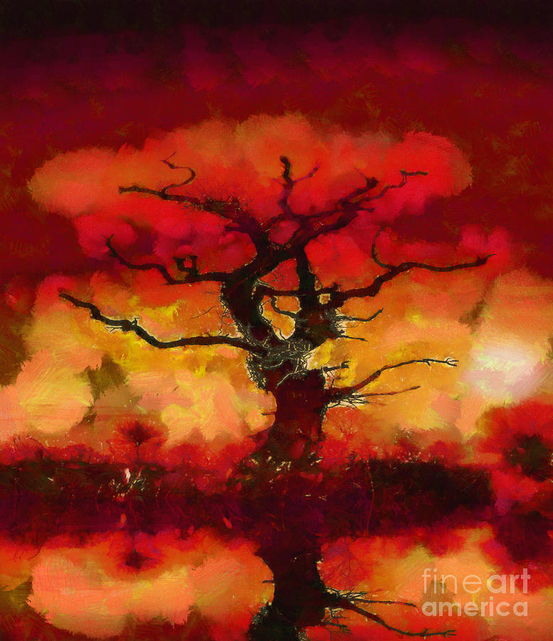 Red Tree Of Life Painting