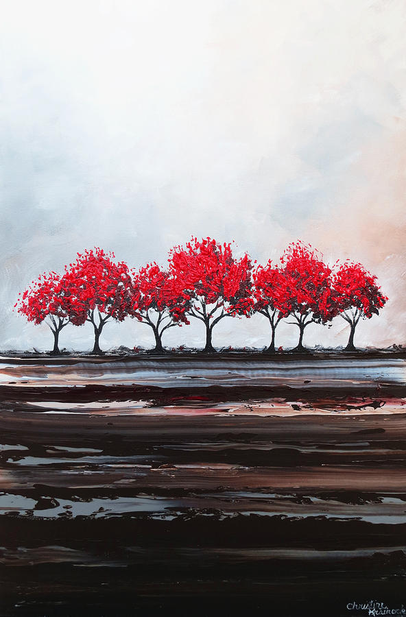 Red Painting - Red Trees Abstract by Christine Bell