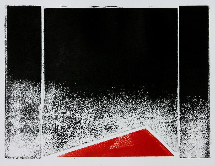 Original Relief - Red Triangle Mono Print by Scott Shaver