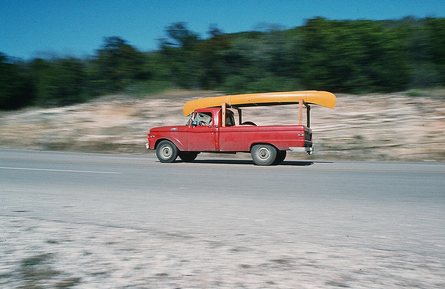 Red Truck And Yellow Canoe by Cindy Clements