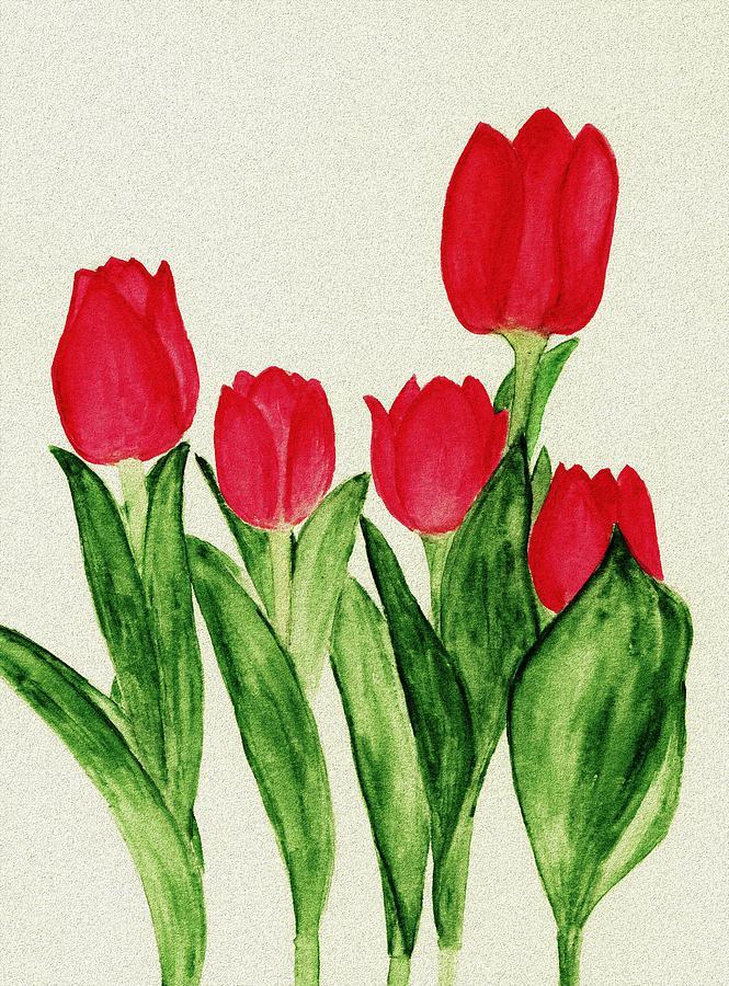 Decorative Painting - Red Tulips by Anastasiya Malakhova