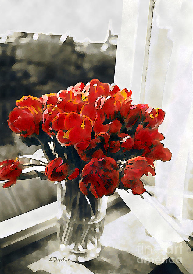 Abstract Photograph - Red Tulips In Window by Linda  Parker