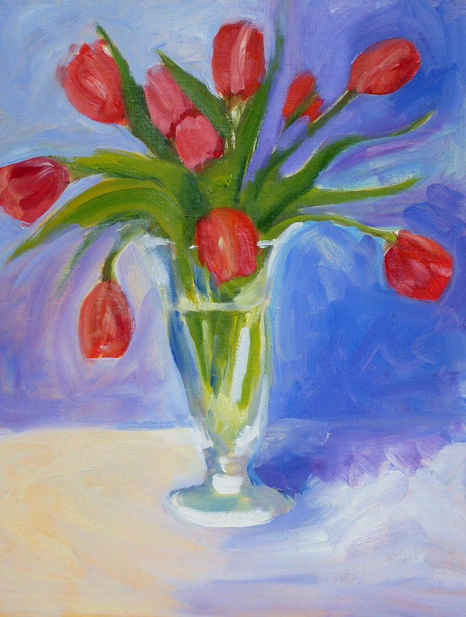 Red Painting - Red Tulips by Valerie Lynch