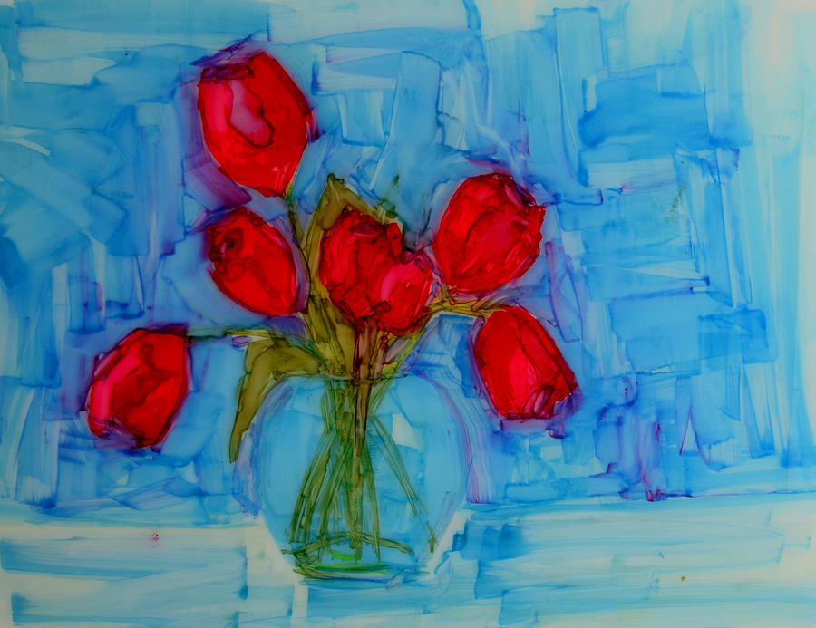 Art Painting - Red Tulips With Blue Background by Patricia Awapara