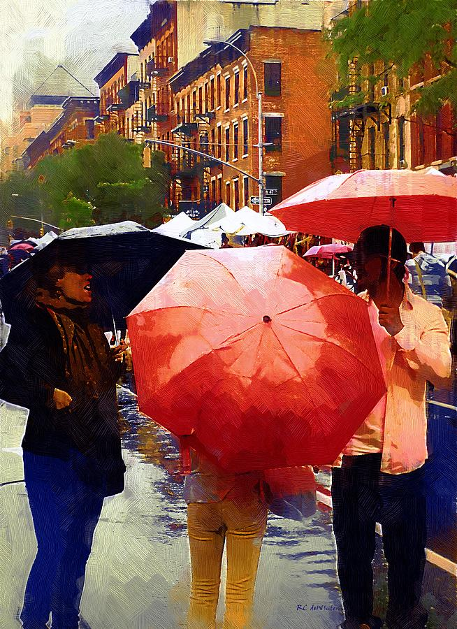People Painting - Red Umbrellas In The Rain by RC deWinter