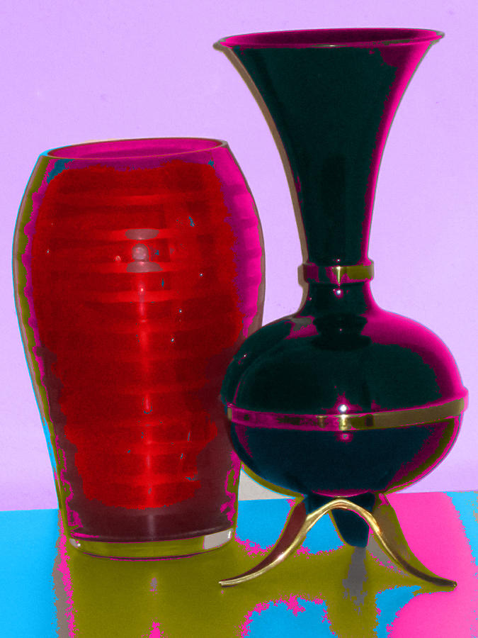 Red Vase Digital Art - Red Vase And Black Vase by Good Taste Art