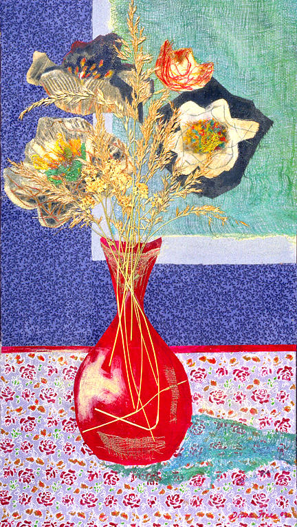 Flowers In A Vase Mixed Media - Red Vase I by Diane Fine