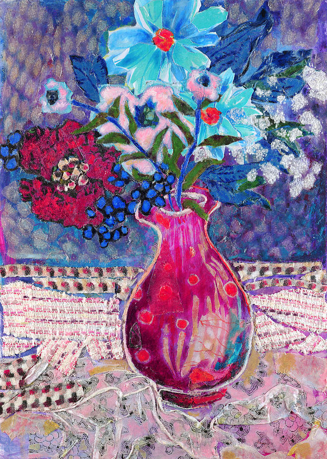 Flowers In A Vase Mixed Media - Red Vase IIi by Diane Fine