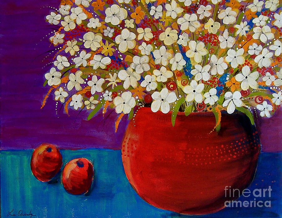 Red Vase With Flowers by Lee Owenby