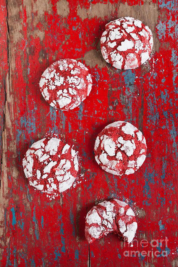 Red Velvet Crinkle Cookies Photograph