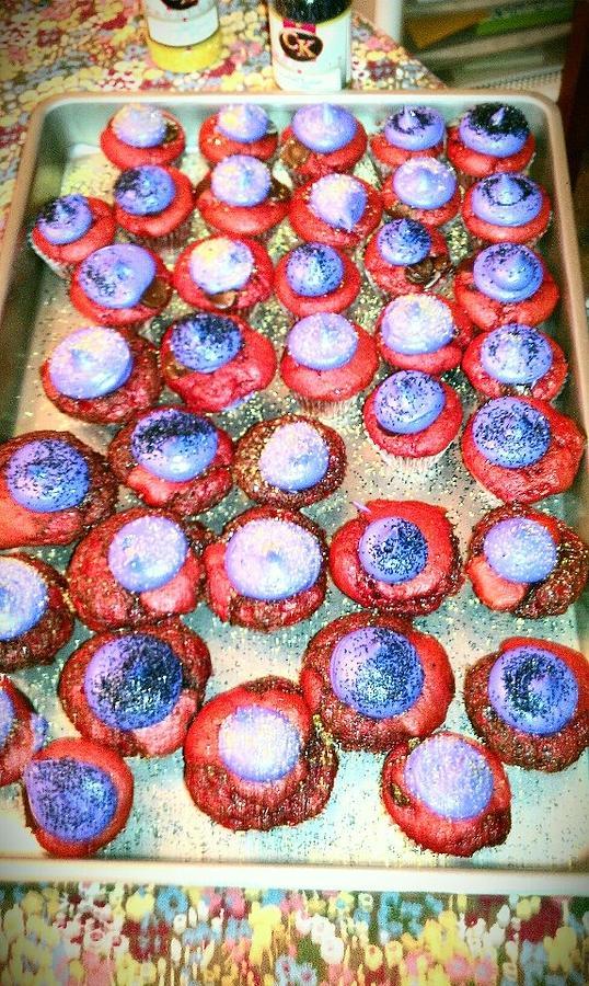 Red Velvet Photograph - Red Velvet Superbowl Cupcakes by Lexa Newman