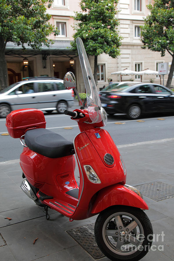 Europe Photograph - Red Vespa by Inge Johnsson