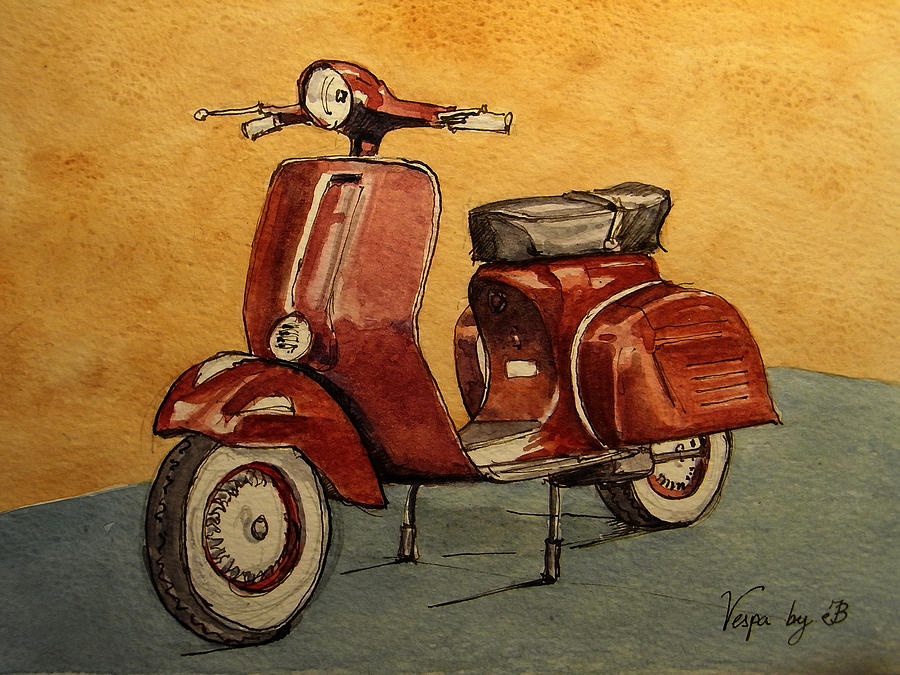 Red Painting - Red Vespa by Juan  Bosco