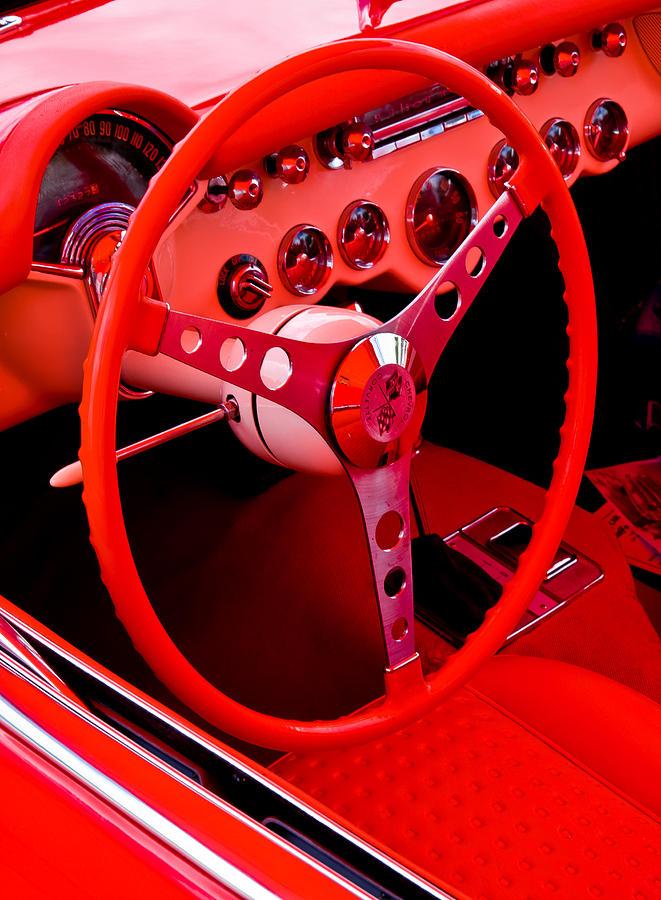 Corvette Steering Whell Photograph - Red Vette by Phil motography Clark