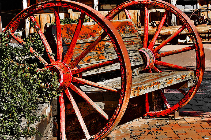 sycamore wagon cedar wheel creations dsc cropped creek bench