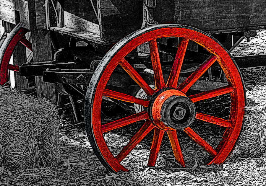 Photo Painting - Red Wagon Wheel by Jack Zulli