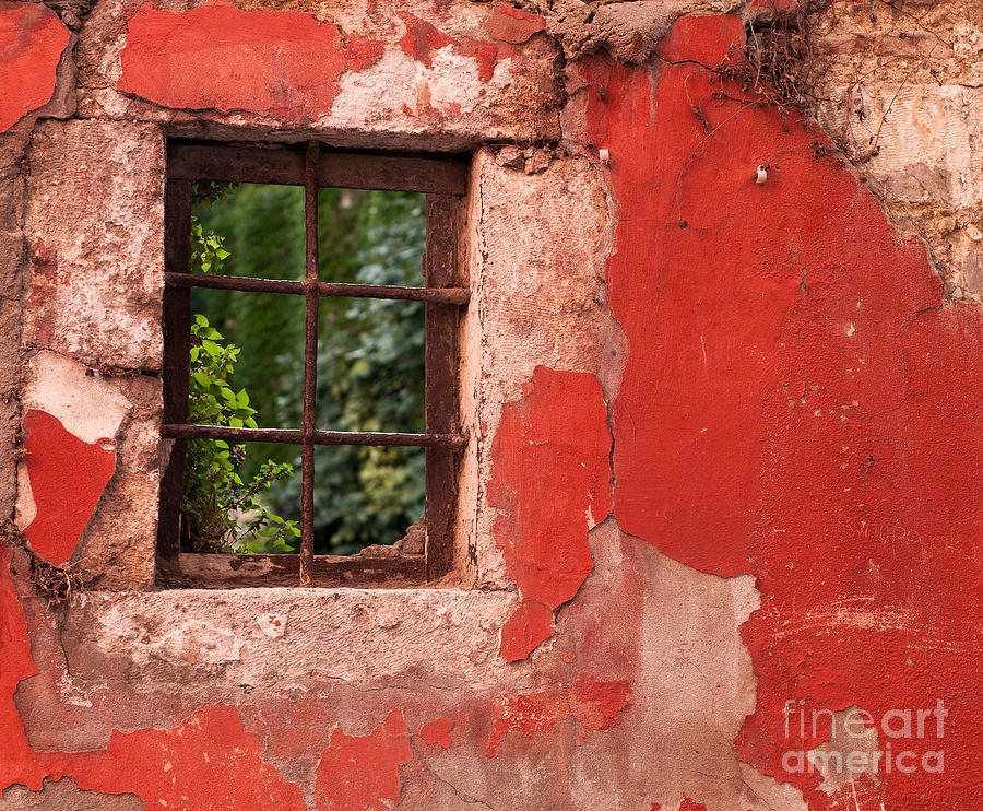 Weathered Photograph - Red Wall by Rick Piper Photography