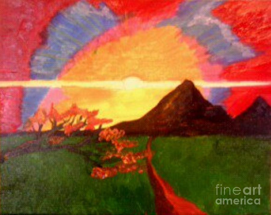 Red Sky Painting - Red Warmth by Lewanda Laboy