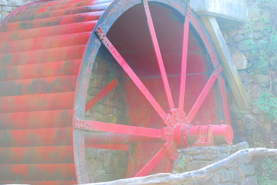 Fall Photograph - Red Wheel by Lorena Mahoney
