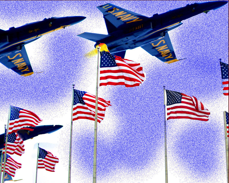 American Flag Photograph - Red White And Blue Angels by Frank Savarese