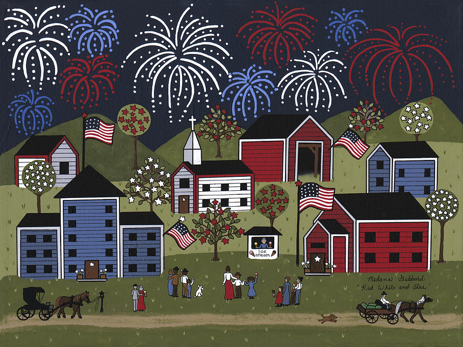 Folk Art Painting - Red White And Blue by Medana Gabbard