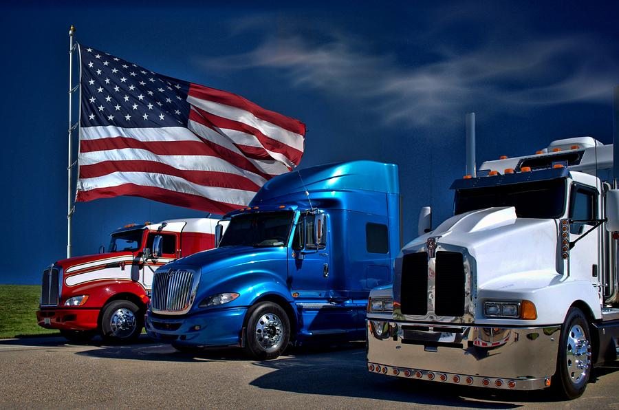 Kenworth Photograph - Red White And Blue Semi Trucks by Tim McCullough