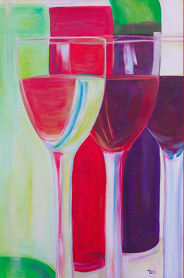 Wine Painting - Red White And Blush by Debi Starr