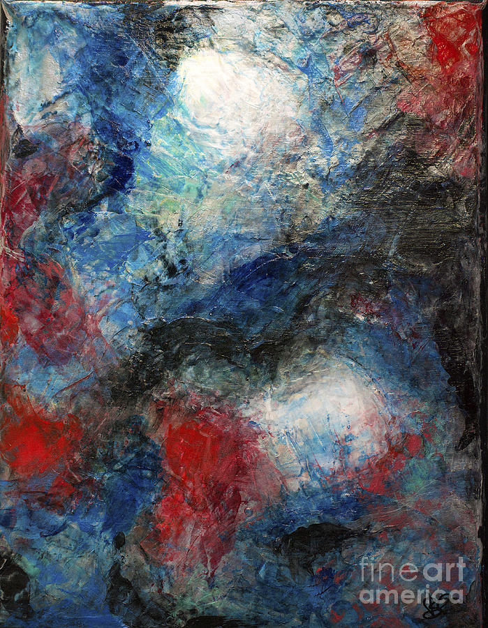 Red White Blue Painting Modern Abstract Black Reflection By Belinda Capol
