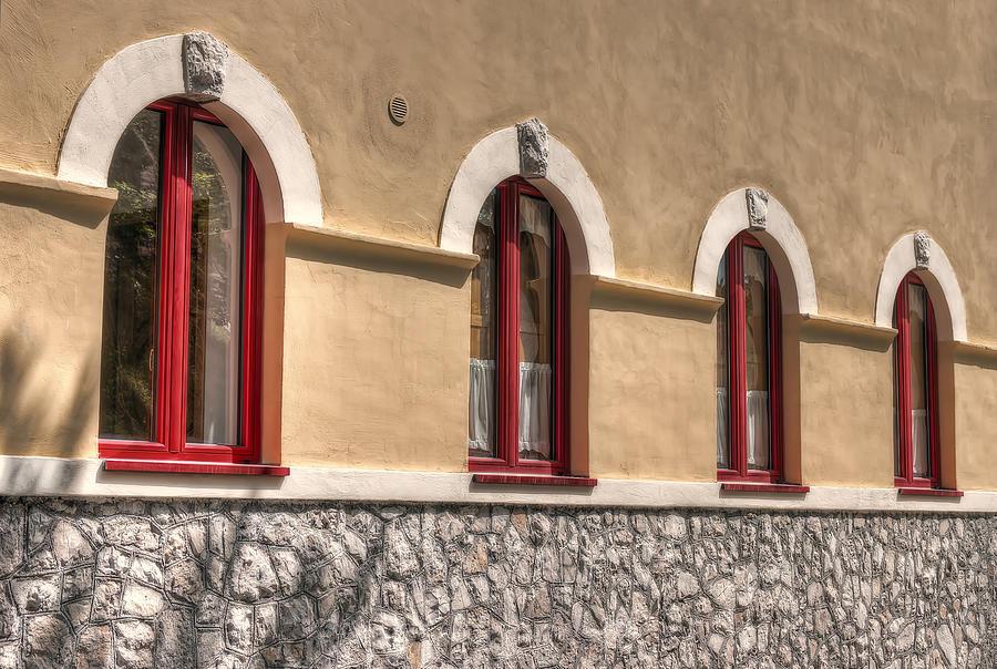 Red Photograph - Red Windows by Leonardo Marangi