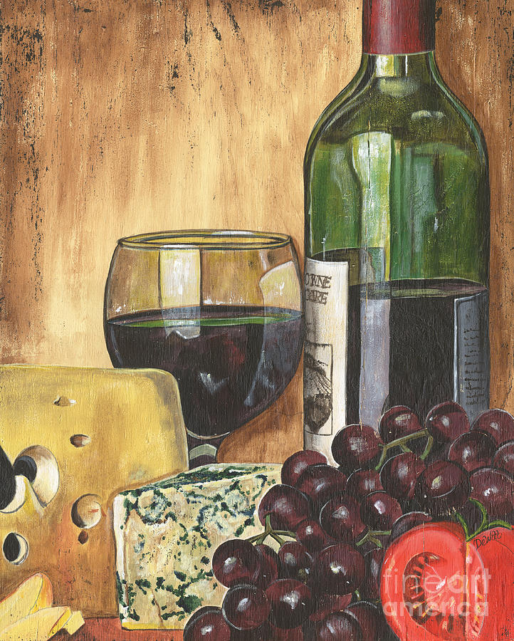 Red Wine Painting - Red Wine And Cheese by Debbie DeWitt