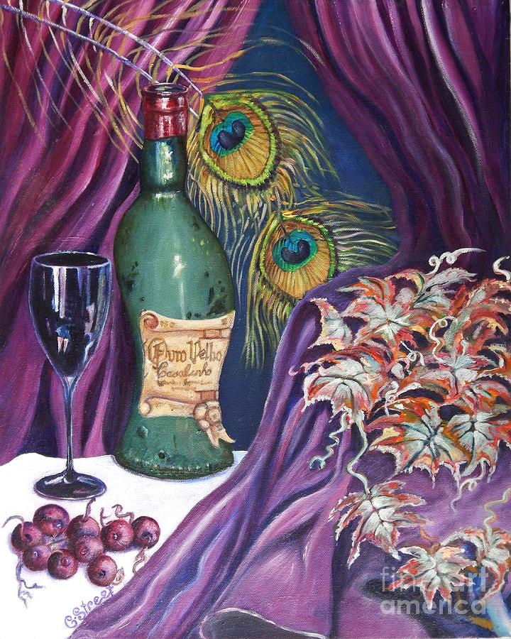 Still-life Painting - Red Wine And Peacock Feathers by Caroline Street