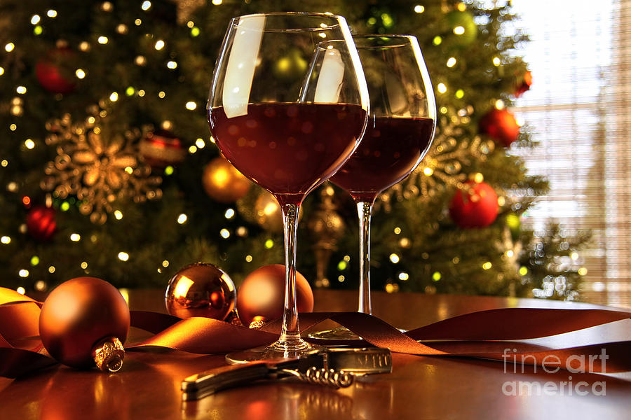 Red Wine On Table Christmas Tree Photograph by Sandra ...