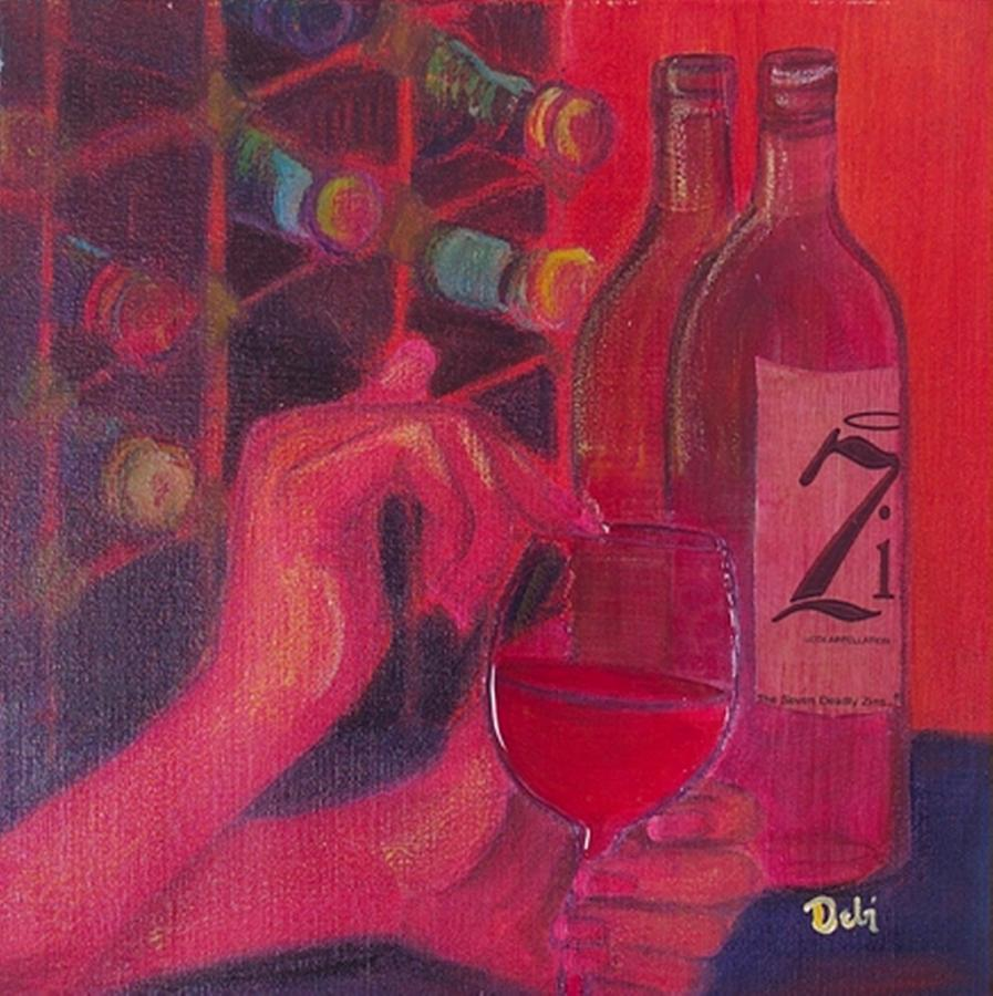 Wine Painting - Red Wine Room by Debi Starr