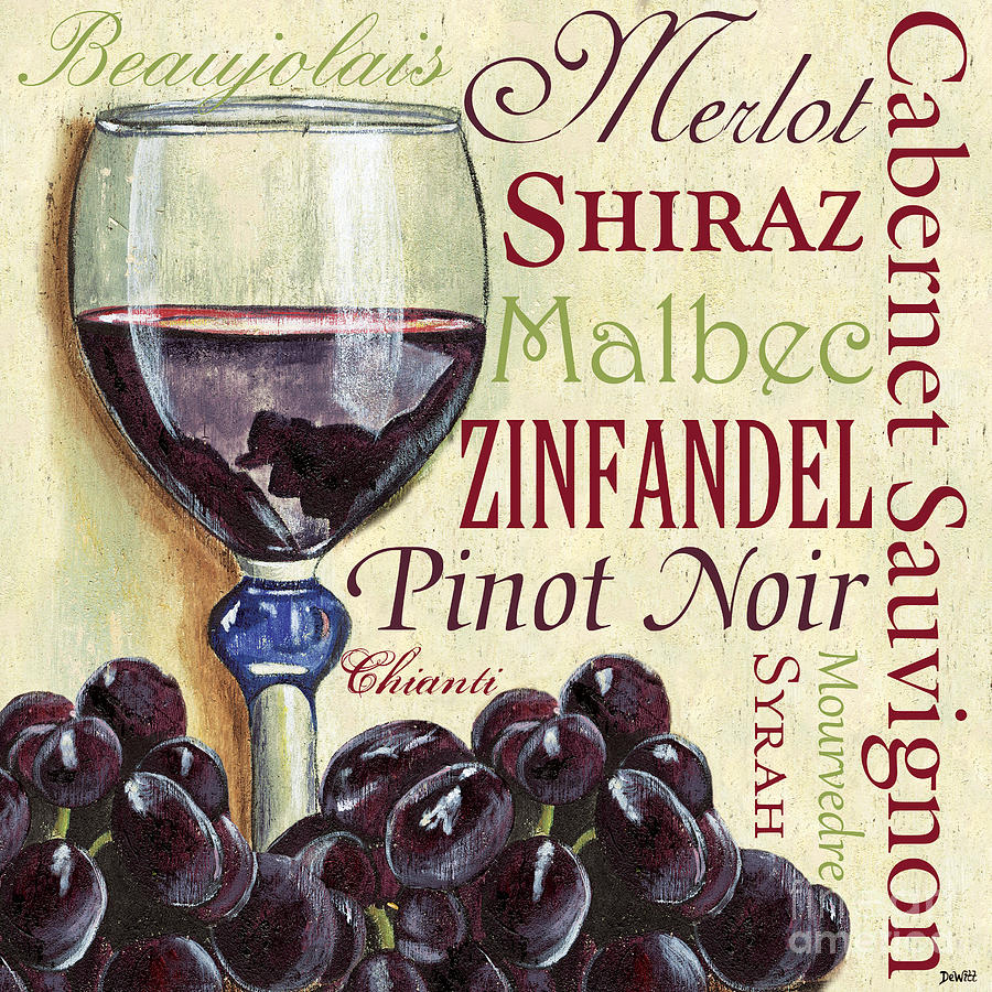 Wine Painting - Red Wine Text by Debbie DeWitt