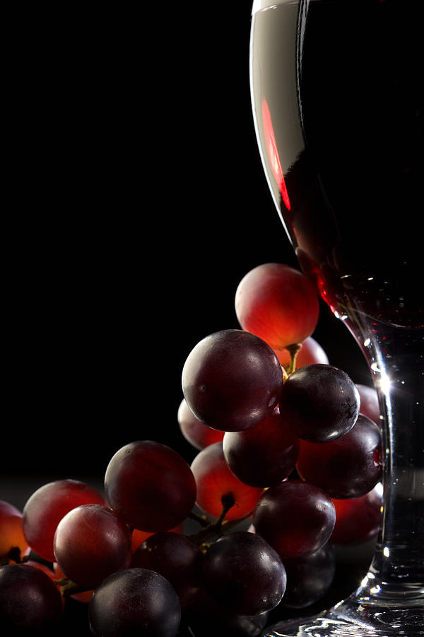 Red Wine With Grapes Photograph