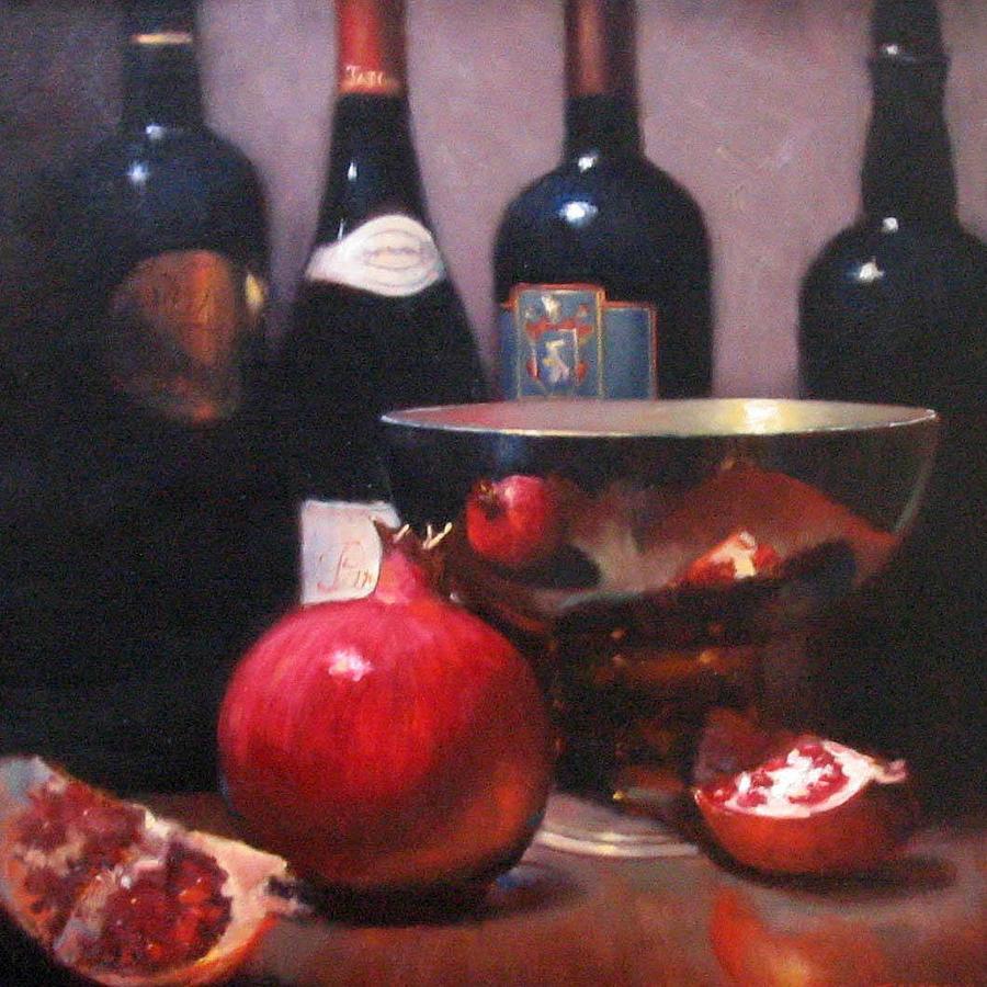 Napa Wine Painting - Red Wine With Pomegranates by Takayuki Harada