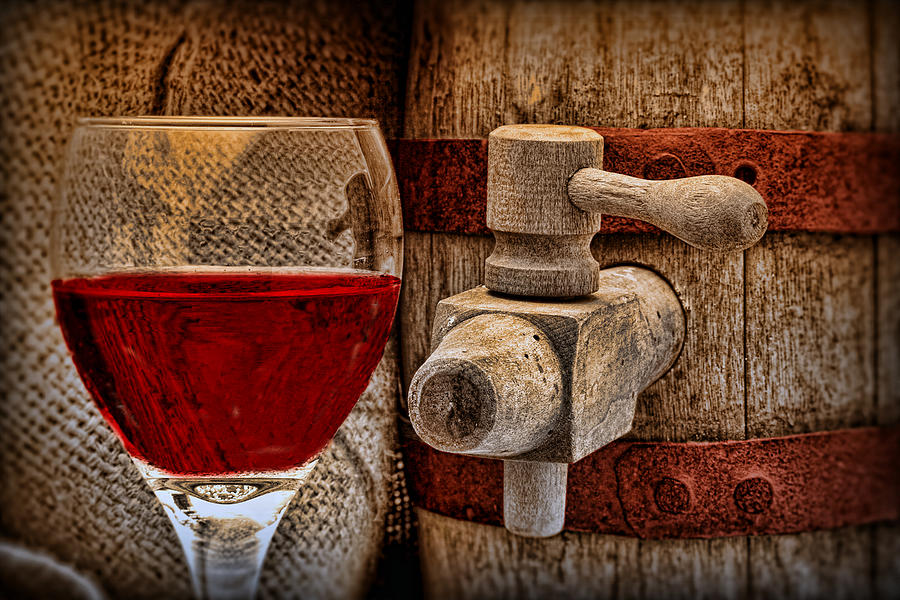 Aged Photograph - Red Wine with Tapped Keg by Tom Mc Nemar